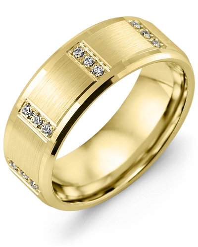 Men's & Women's Yellow Gold + 12 Diamonds 0.12ct Wedding Band