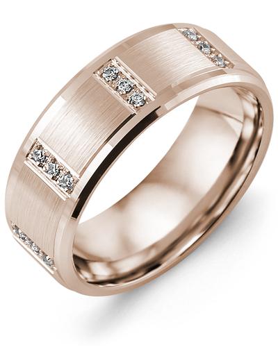 Men's & Women's Rose Gold + 12 Diamonds 0.12ct Wedding Band
