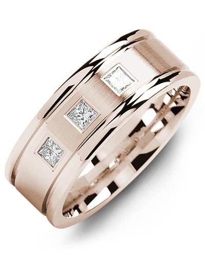 Men's & Women's Rose Gold + 3 Diamonds 0.21ct Wedding Band