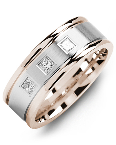Men's & Women's Rose Gold & White Gold + 3 Diamonds 0.21ct Wedding Band