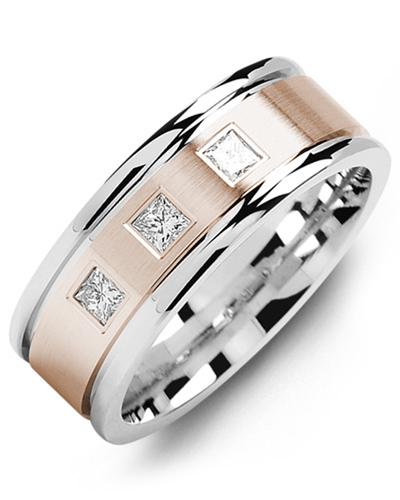 Men's & Women's White Gold & Rose Gold + 3 Diamonds 0.21ct Wedding Band