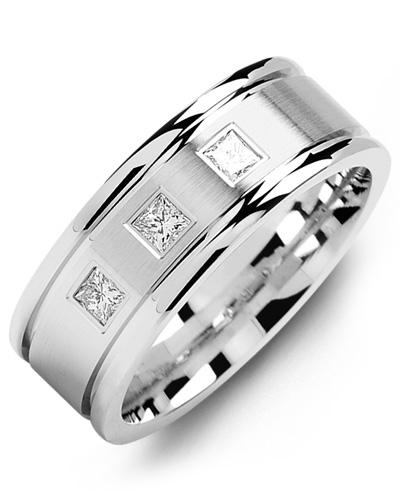 Men's & Women's White Gold & White Gold + 3 Diamonds 0.21ct Wedding Band from MADANI Rings. Wedding bands, fashion rings, promise rings, made of Tungsten, Ceramic, Cobalt, and Gold. View the collection at madanirings.com
