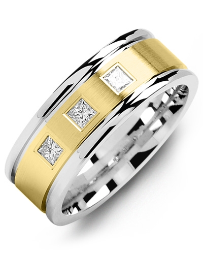 Men's & Women's White Gold & Yellow Gold + 3 Diamonds 0.21ct Wedding Band