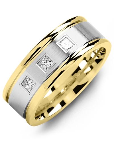 Men's & Women's Yellow Gold & White Gold + 3 Diamonds tcw. 0.21 Wedding Band