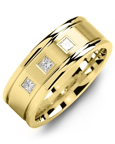 Men's & Women's Yellow Gold & Yellow Gold + 3 Diamonds 0.21ct Wedding Band 18K 7mm