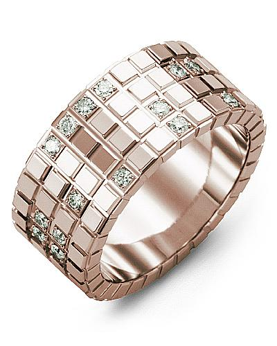 Men's & Women's Rose Gold + 17 Diamonds 0.34ct Wedding Band 10K 10mm