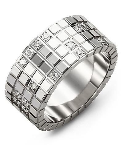 Men's & Women's White Gold + 17 Diamonds 0.34ct Wedding Band