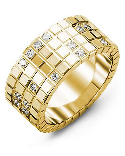 Men's & Women's Yellow Gold + 17 Diamonds 0.34ct Wedding Band