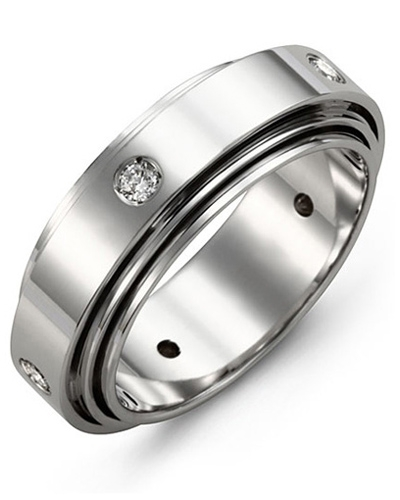 Men's & Women's White Gold + 5 Diamonds 0.25ct Wedding Band from MADANI Rings. Wedding bands, fashion rings, promise rings, made of Tungsten, Ceramic, Cobalt, and Gold. View the collection at madanirings.com