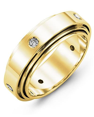 Men's & Women's Yellow Gold + 5 Diamonds 0.25ct Wedding Band