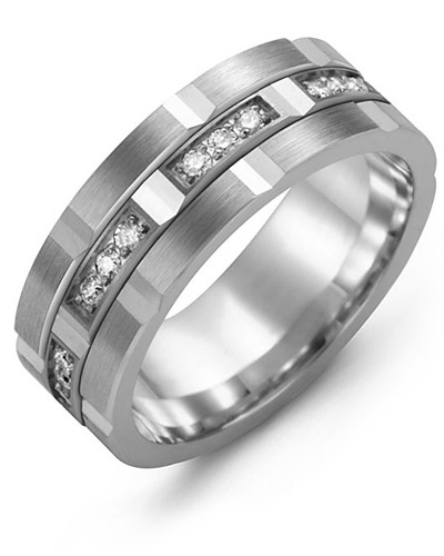 Men's & Women's White Gold & White Gold + 24 Diamonds 0.48ct Wedding Band from MADANI Rings. Wedding bands, fashion rings, promise rings, made of Tungsten, Ceramic, Cobalt, and Gold. View the collection at madanirings.com