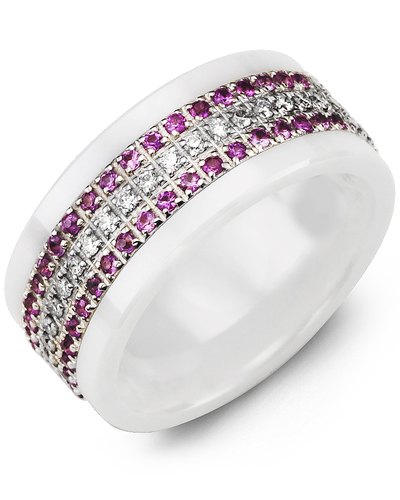 Men's & Women's White Ceramic & White Gold + 63 Pink Sapphire Diamonds 0.63ct Wedding Band from MADANI Rings. Wedding bands, fashion rings, promise rings, made of Tungsten, Ceramic, Cobalt, and Gold. View the collection at madanirings.com