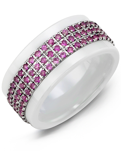 Men's & Women's White Ceramic & White Gold + 63 Pink Sapphires 0.63ct Wedding Band from MADANI Rings. Wedding bands, fashion rings, promise rings, made of Tungsten, Ceramic, Cobalt, and Gold. View the collection at madanirings.com
