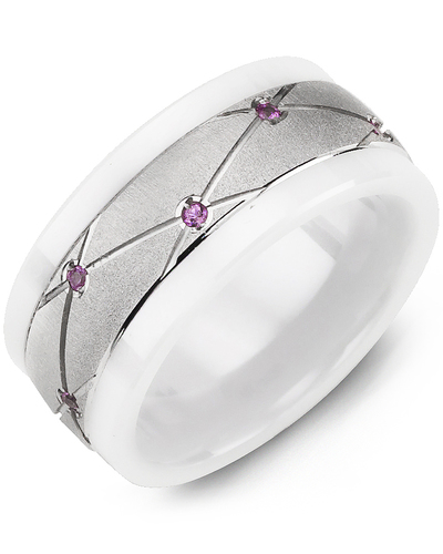 Men's & Women's White Ceramic & White Gold + 14 Pink Sapphire 0.14ct Wedding Band from MADANI Rings. Wedding bands, fashion rings, promise rings, made of Tungsten, Ceramic, Cobalt, and Gold. View the collection at madanirings.com