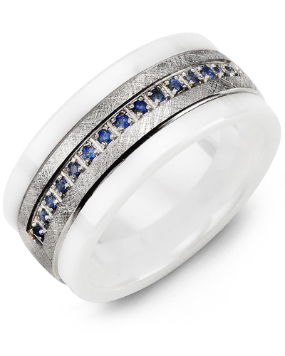 Men's & Women's White Ceramic & White Gold + 15 Blue Sapphire 0.15ct Wedding Band
