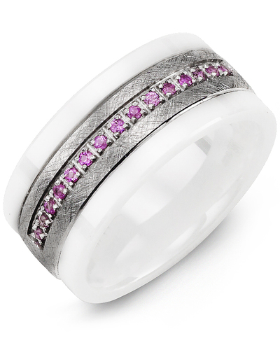 Men's & Women's White Ceramic & White Gold + 15 Pink Sapphire 0.15ct Wedding Band