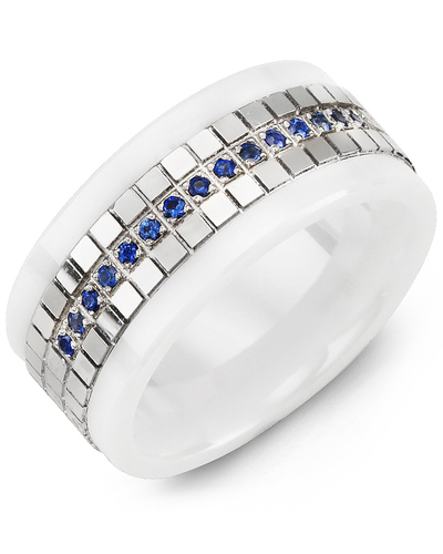 Men's & Women's White Ceramic & White Gold + 15 Blue Sapphire 0.15ct Wedding Band from MADANI Rings. Wedding bands, fashion rings, promise rings, made of Tungsten, Ceramic, Cobalt, and Gold. View the collection at madanirings.com