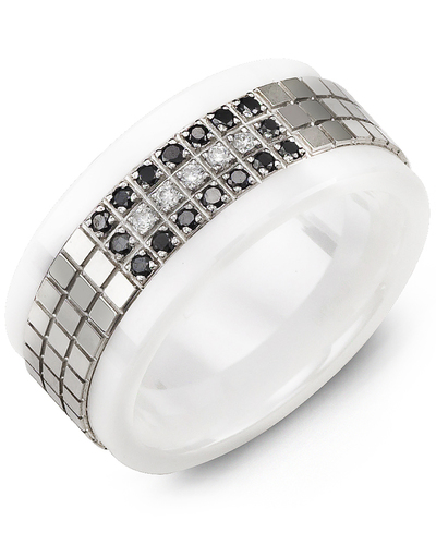 Men's & Women's White Ceramic & White Gold + 21 Black White Diamonds 0.21ct Wedding Band