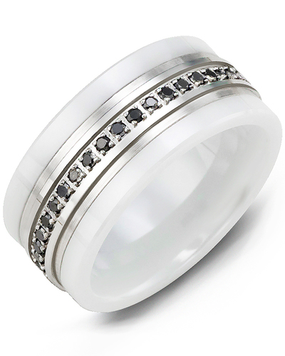 Men's & Women's White Ceramic & White Gold + 21 Black Diamonds 0.21ct Wedding Band