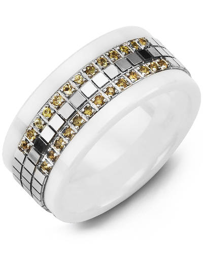 Men's & Women's White Ceramic & White Gold + 22 Yellow Sapphires 0.22ct Wedding Band