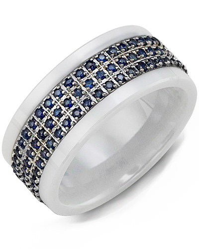 Men's & Women's White Ceramic & White Gold + 63 Blue Sapphire 0.63ct Wedding Band