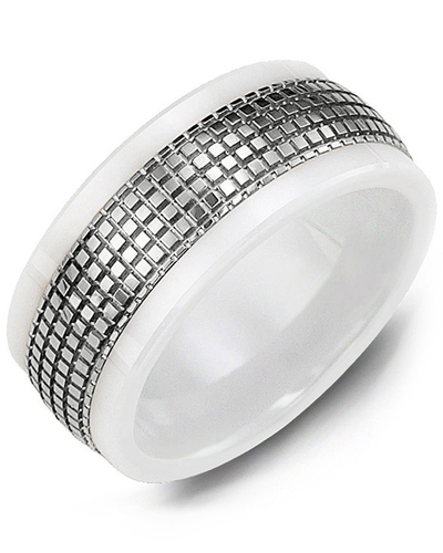 Men's & Women's White Ceramic & White Gold Wedding Band