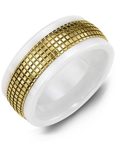 Men's & Women's White Ceramic & Yellow Gold Wedding Band