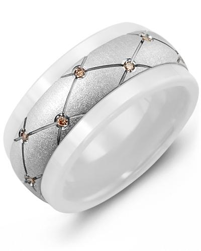 Men's & Women's White Ceramic & White Gold + 14 Chocolate Diamonds 0.14ct Wedding Band