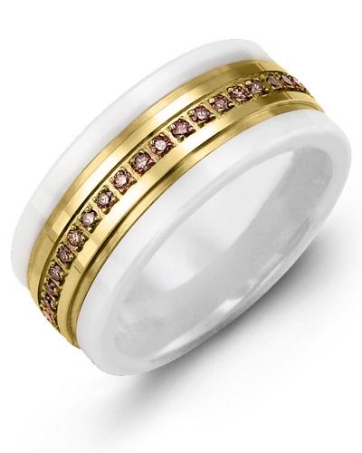 Men's & Women's White Ceramic & Yellow Gold + 45 Pink Sapphire tcw. 0.45 Wedding Band