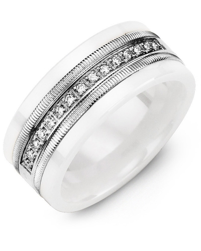Men's & Women's White Ceramic & White Gold + 15 Diamonds 0.15ct Wedding Band from MADANI Rings. Wedding bands, fashion rings, promise rings, made of Tungsten, Ceramic, Cobalt, and Gold. View the collection at madanirings.com