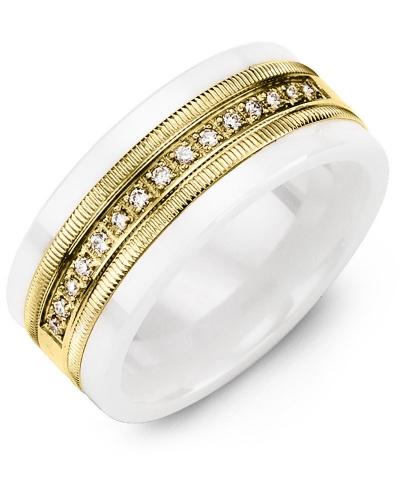 Men's & Women's White Ceramic & Yellow Gold + 15 Diamonds 0.15ct Wedding Band