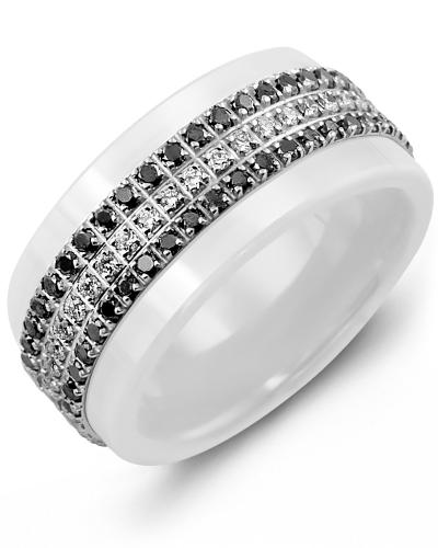 Men's & Women's White Ceramic & White Gold + 63 Black White Diamonds 0.63ct Wedding Band from MADANI Rings. Wedding bands, fashion rings, promise rings, made of Tungsten, Ceramic, Cobalt, and Gold. View the collection at madanirings.com