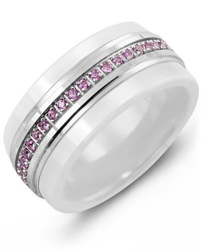 Men's & Women's White Ceramic & White Gold + 45 Pink Sapphires 0.45ct Wedding Band 14K 9mm