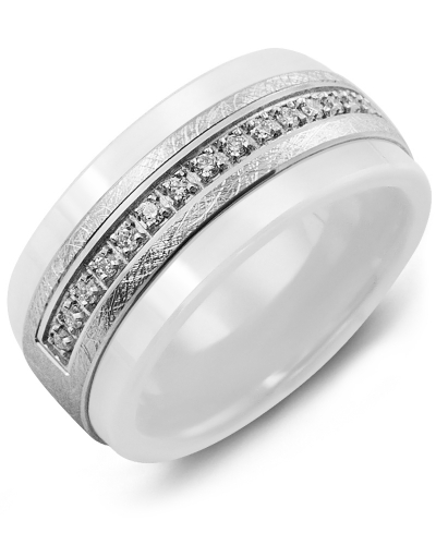 Men's & Women's White Ceramic & White Gold + 15 Diamonds tcw 0.15 Wedding Band