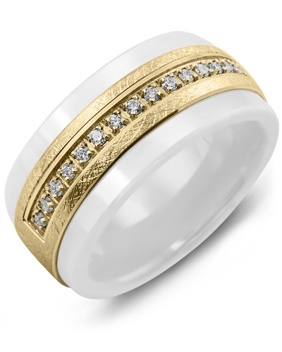 Men's & Women's White Ceramic & Yellow Gold + 15 Diamonds 0.15ct Wedding Band