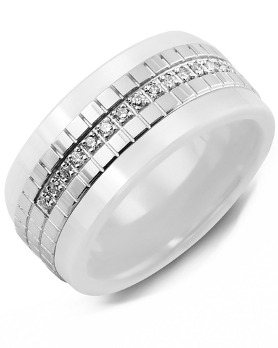 Men's & Women's White Ceramic & White Gold + 15 Diamonds 0.15ct Wedding Band