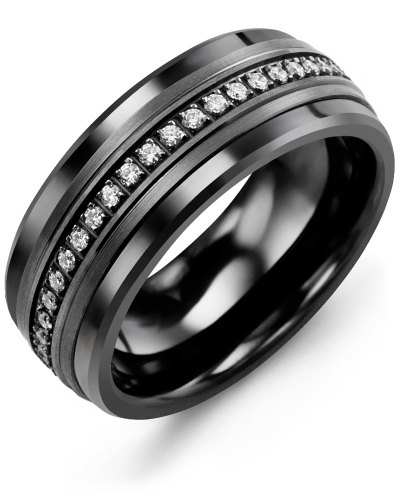 Men's & Women's Black Ceramic & Black Gold + 21 Diamonds tcw 0.21 Wedding Band