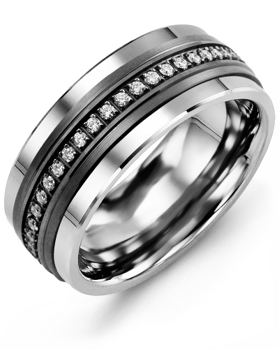 Men's & Women's Tungsten & Black Gold + 21 Diamonds tcw 0.21 Wedding Band