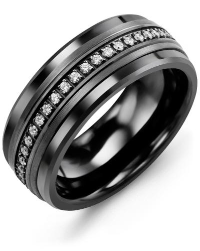 Men's & Women's Black Ceramic & Black Gold + 21 Diamonds 0.21ct Wedding Band 10K 7mm