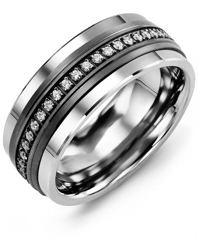 Men's & Women's Tungsten & Black Gold + 21 Diamonds 0.21ct Wedding Band