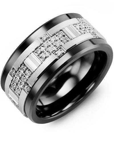 Men's & Women's Black Ceramic & White Gold + 30 Diamonds 0.30ct Wedding Band