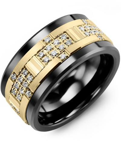 Men's & Women's Black Ceramic & Yellow Gold + 30 Diamonds 0.30ct Wedding Band
