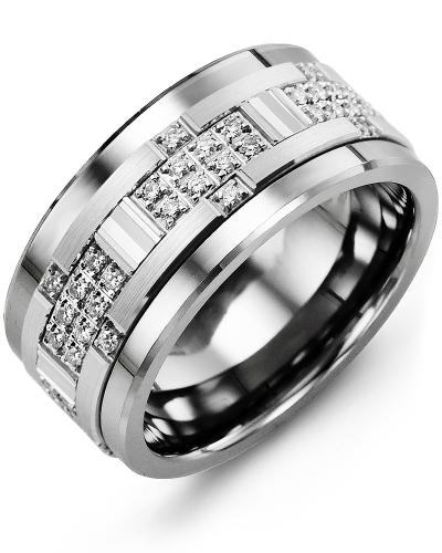 Men's & Women's Cobalt & White Gold + 30 Diamonds 0.30ct Wedding Band from MADANI Rings. Wedding bands, fashion rings, promise rings, made of Tungsten, Ceramic, Cobalt, and Gold. View the collection at madanirings.com