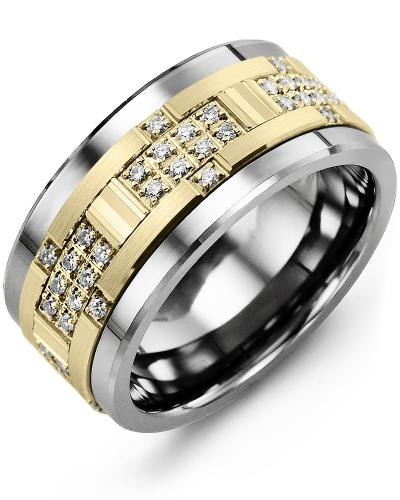 Men's & Women's Cobalt & Yellow Gold + 30 Diamonds 0.30ct Wedding Band