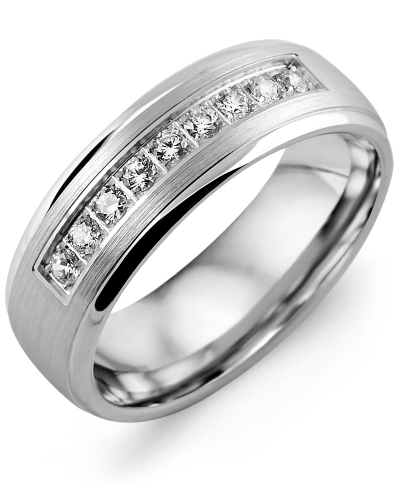 Men's & Women's White Gold + 9 Diamonds tcw 0.27 Wedding Band from MADANI Rings. Wedding bands, fashion rings, promise rings, made of Tungsten, Ceramic, Cobalt, and Gold. View the collection at madanirings.com