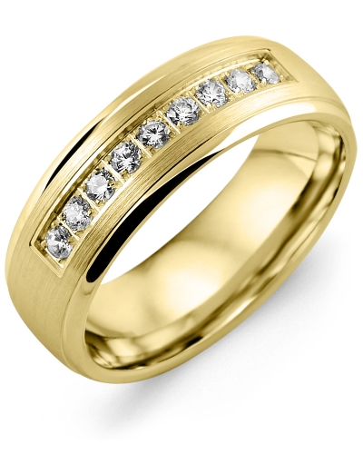 Men's & Women's Yellow Gold + 9 Diamonds tcw 0.27 Wedding Band 10K 7mm