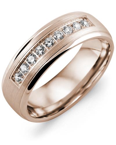 Men's & Women's Rose Gold + 9 Diamonds 0.27ct Wedding Band