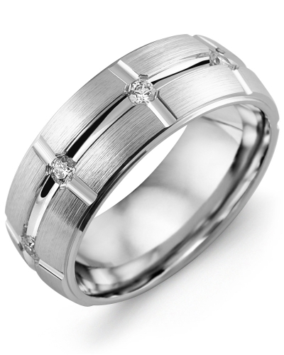 Men's & Women's White Gold + 8 Diamonds tcw 0.40 Wedding Band from MADANI Rings. Wedding bands, fashion rings, promise rings, made of Tungsten, Ceramic, Cobalt, and Gold. View the collection at madanirings.com