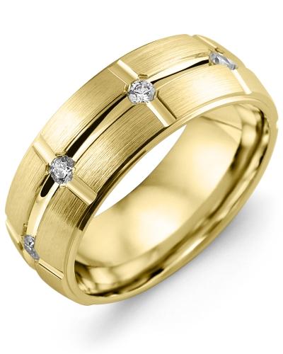 Men's & Women's Yellow Gold + 8 Diamonds 0.40ct Wedding Band