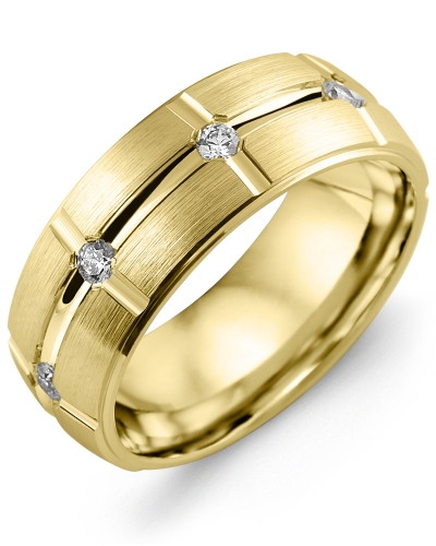 Men's & Women's Yellow Gold + 8 Diamonds tcw 0.40 Wedding Band 10K 9mm